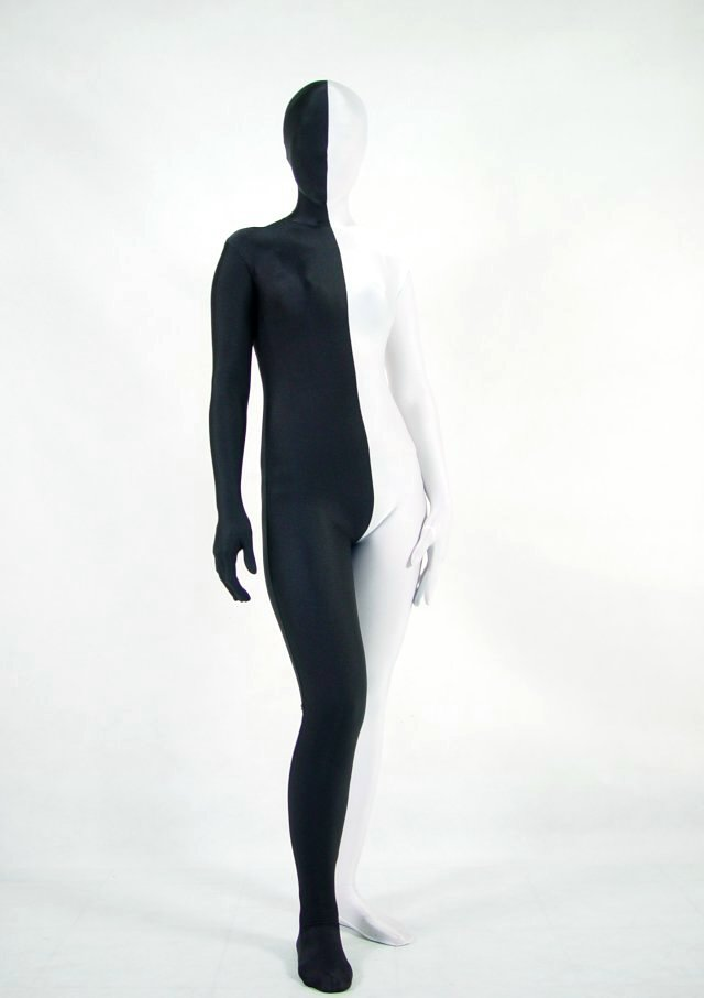 Split Black White Halloween Costume Ideas Zentai