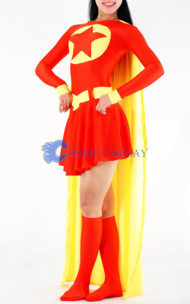 Star Supergirl Cosplay Costume Lycra Halloween