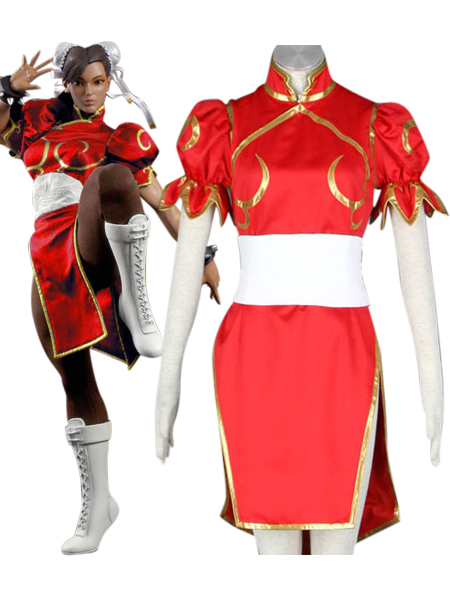 Street Fighter Chun-Li Red Cosplay Costume