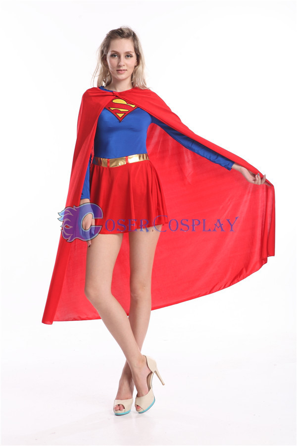 Supergirl Cosplay Costume Halloween Cape Catsuit