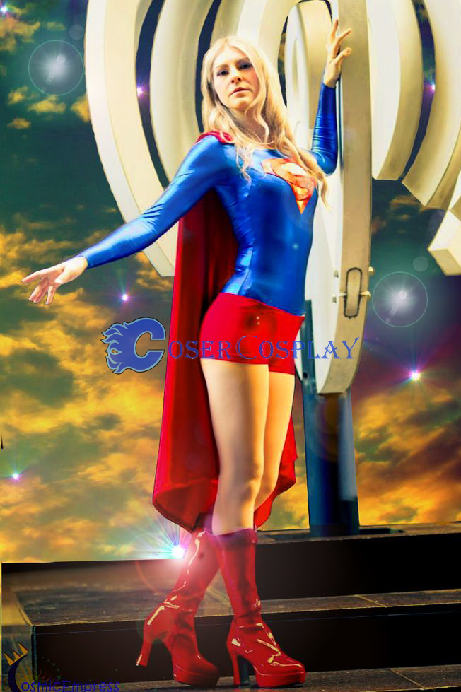 Supergirl Cosplay Costume Halloween Cape Suit