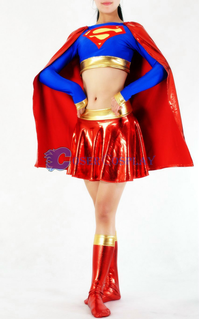 Supergirl Cosplay Costume Shiny Halloween