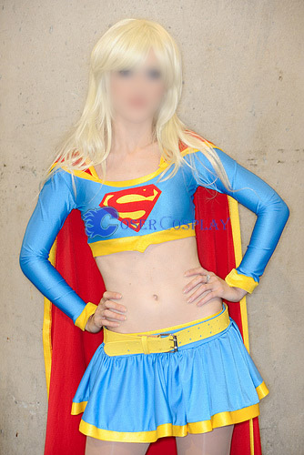 Supergirl Cosplay Costume Sky Blue