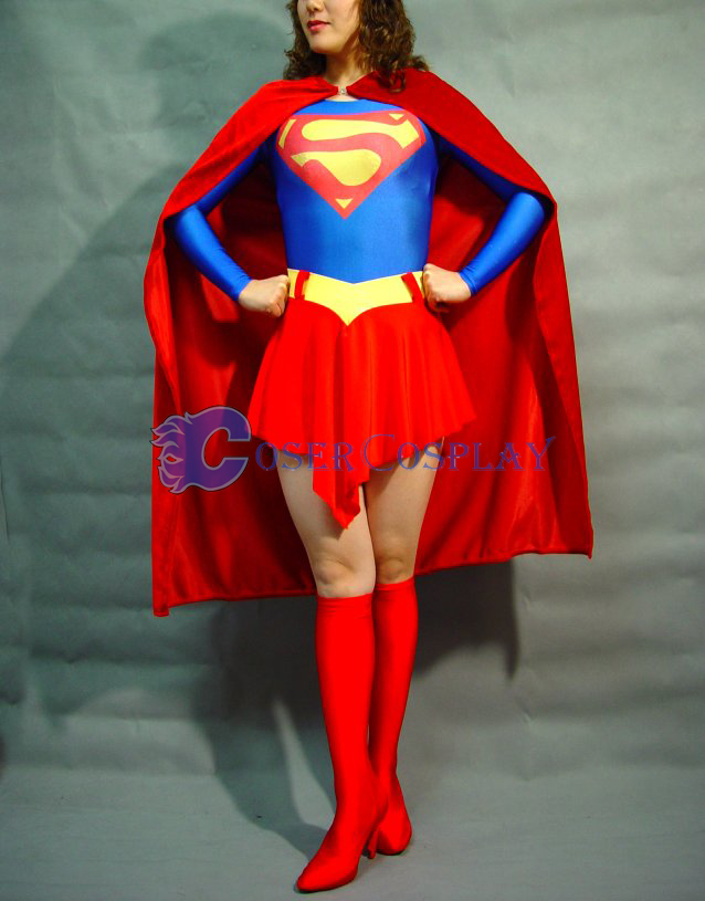 Supergirl Cosplay Costume Spandex Dress