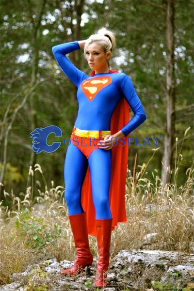 Supergirl Cosplay Costume Spandex Suit