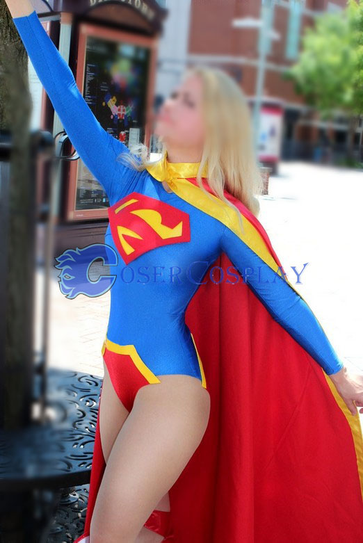 Supergirl Cosplay Costume With Cape Catsuit