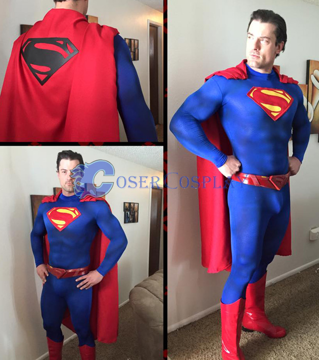 Superman Cosplay Costume Catsuit For Men