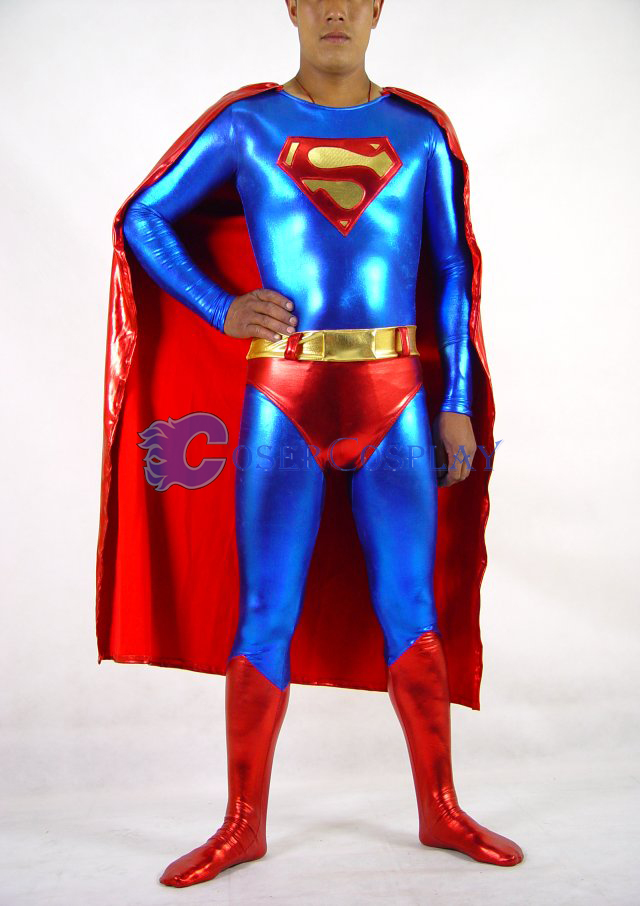 Superman Cosplay Costume Shiny Halloween