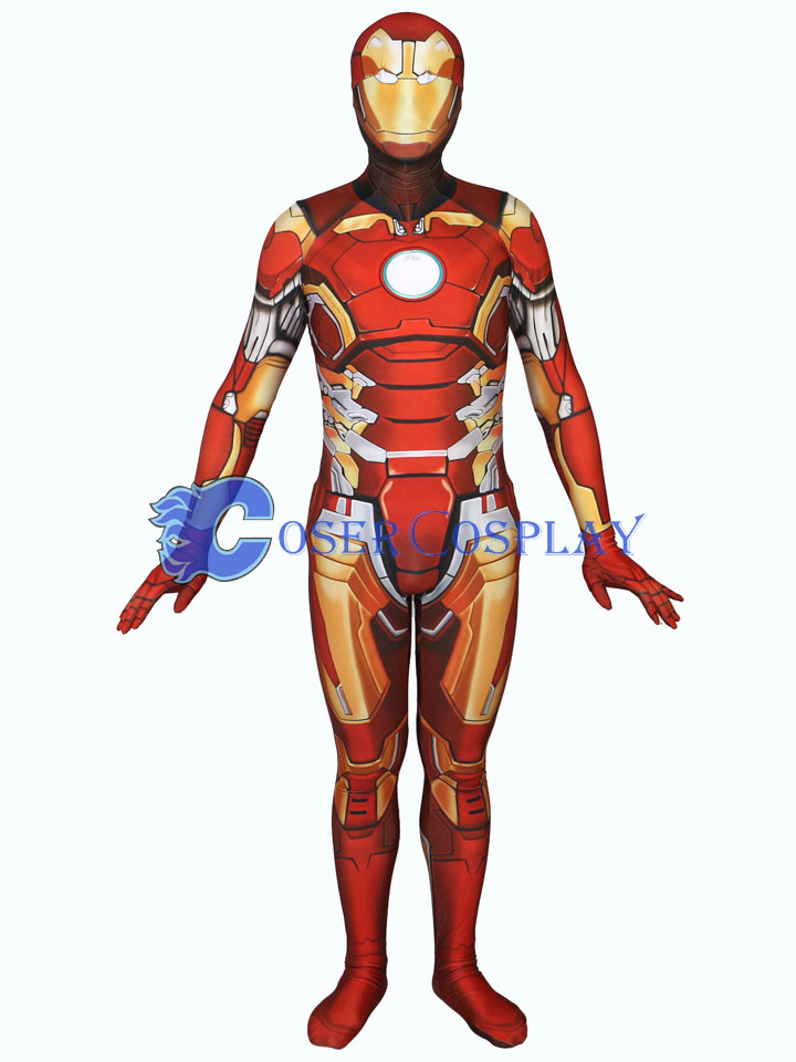 Tony Stark Iron Man Cosplay Costume Zentai Halloween