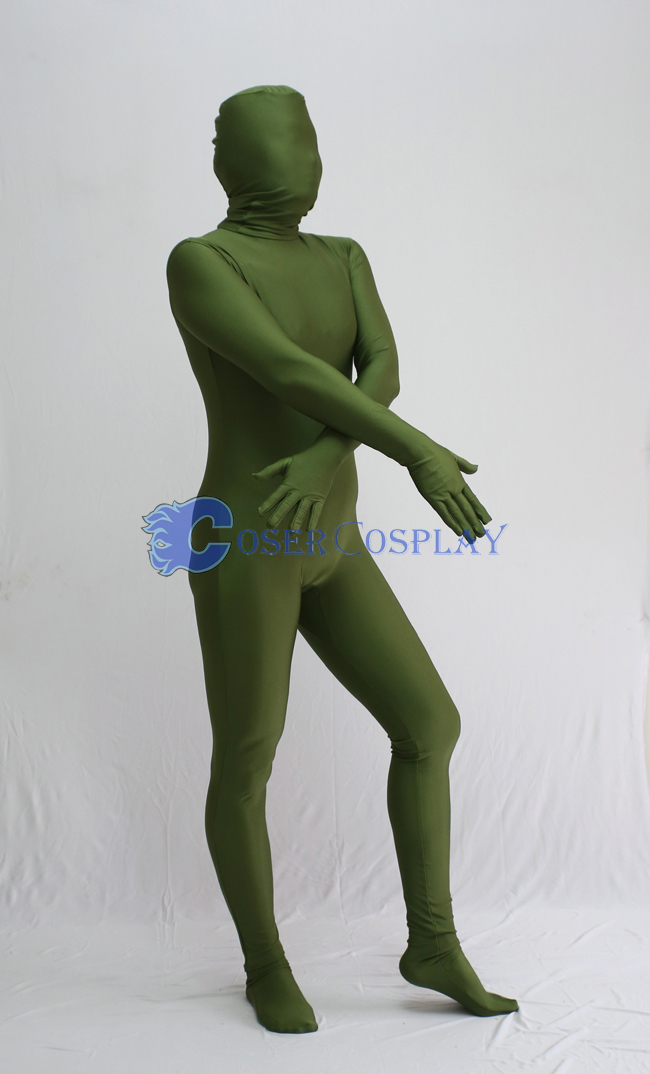 Unicolor Army Green Zentai Halloween Costumes