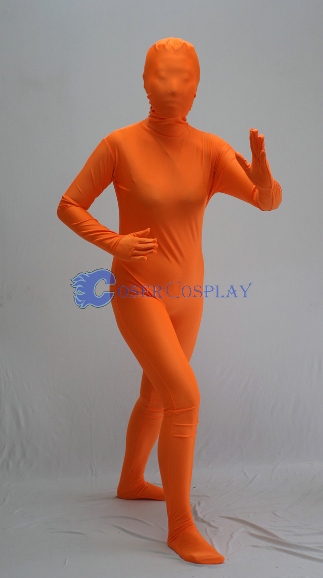 Unicolor Orange Zentai Halloween Costumes