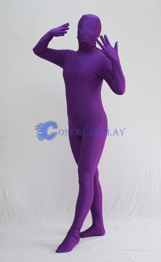 Unicolor Purple Zentai Halloween Costumes