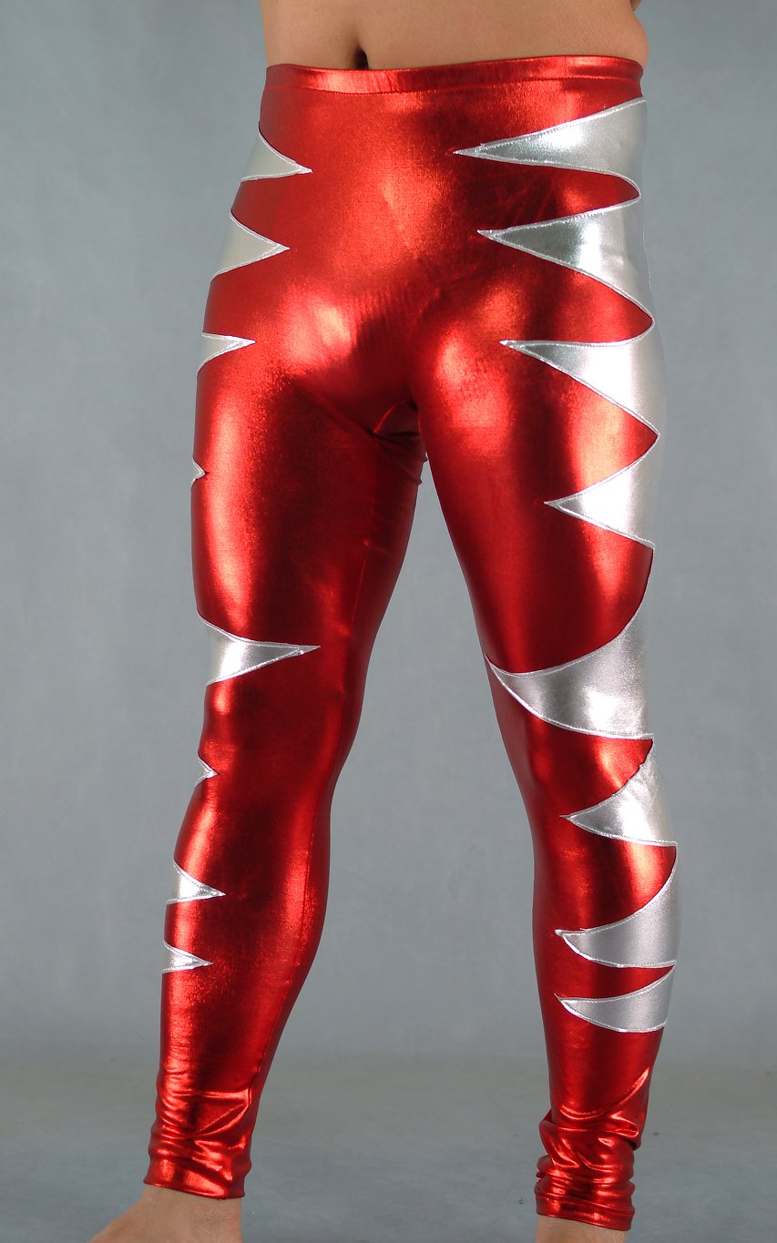 Unisex Red Shiny Spandex Spandex Leggings