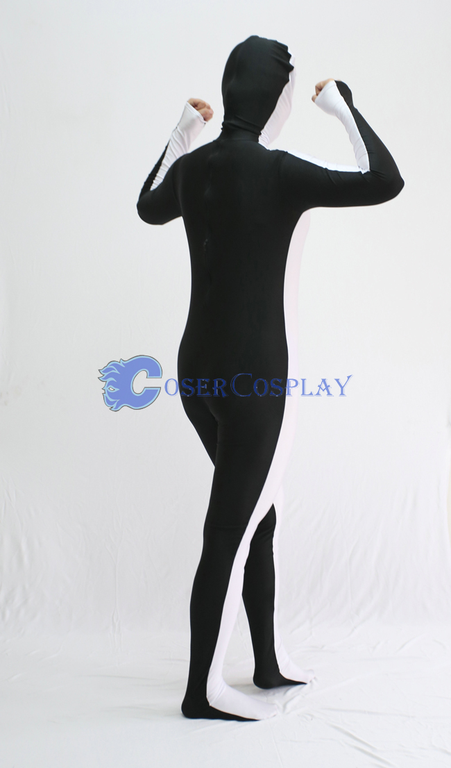 White And Black Open Face Zentai Suit