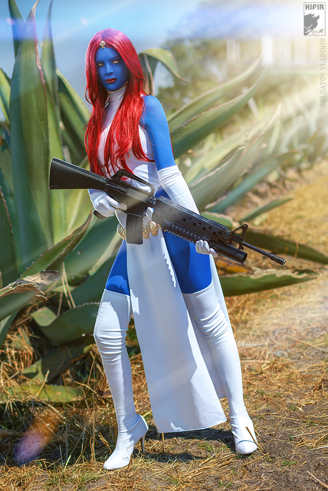 White And Blue Lycra Spandex X-Men Costume