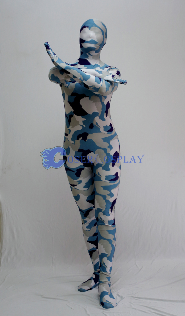 White Blue Camouflage Full Body Suit