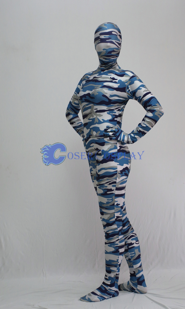 White Grey Blue Camouflage Full Body Suit
