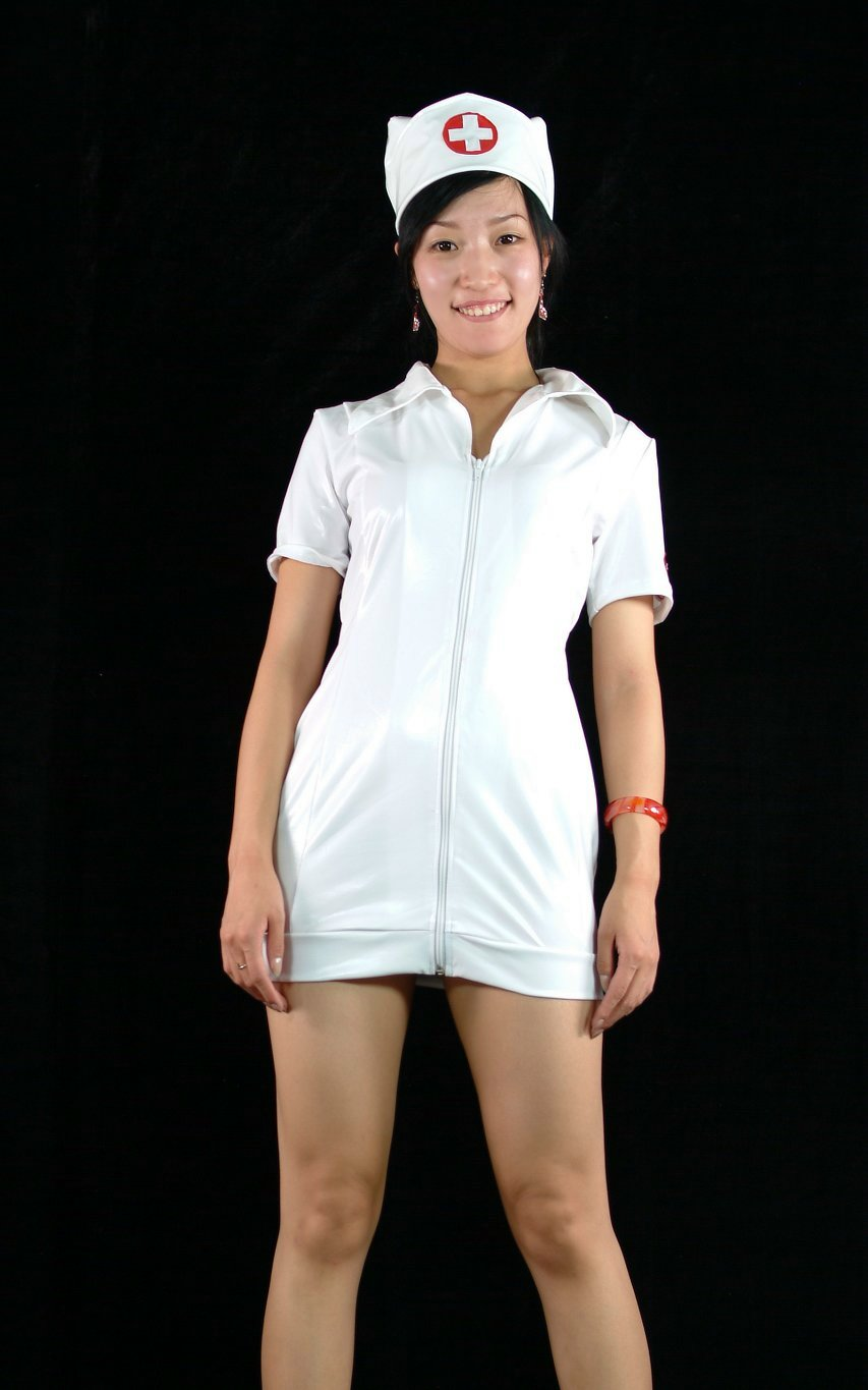 White PVC Nurse Sexy Halloween Costumes
