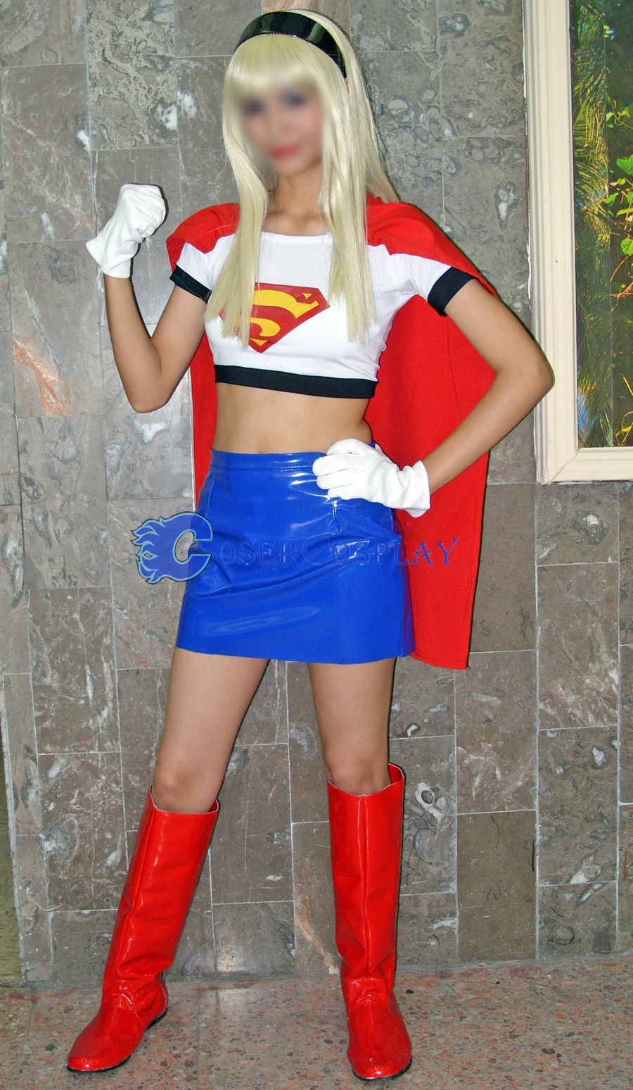 White Supergirl Cosplay Costume Halloween