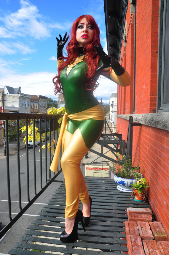 X-Men Marvel Girl Phoenix Jean Grey Costume PVC Catsuit
