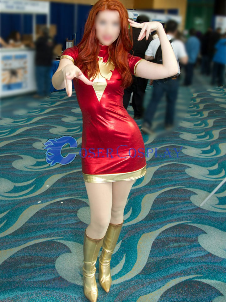 X-Men Phoenix Jean Grey Cosplay Costume Red Dress