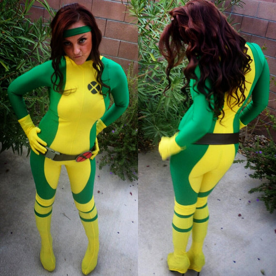 X-Men Rogue Costume Spandex Bodysuit Women