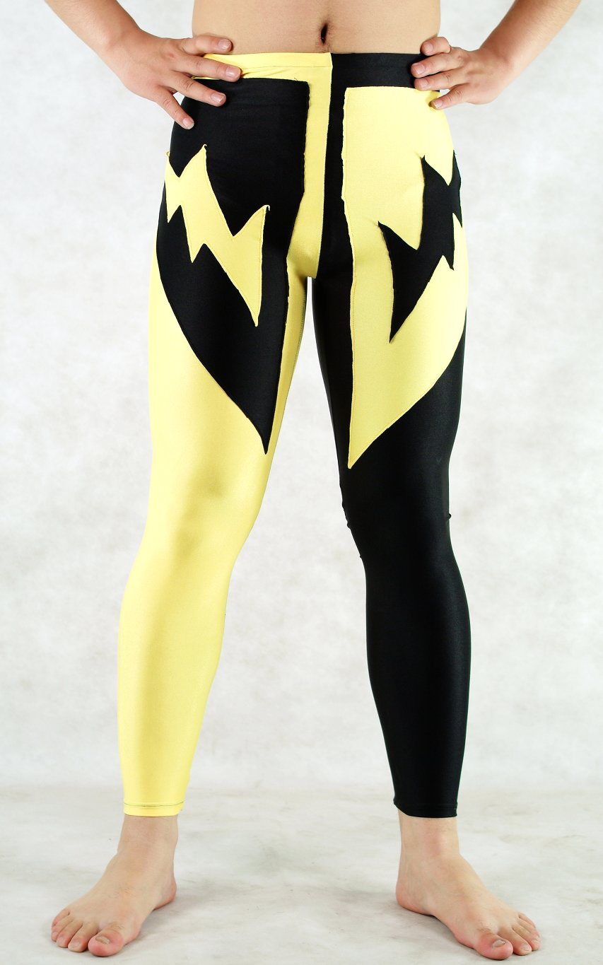Yellow Black Spandex Leggings