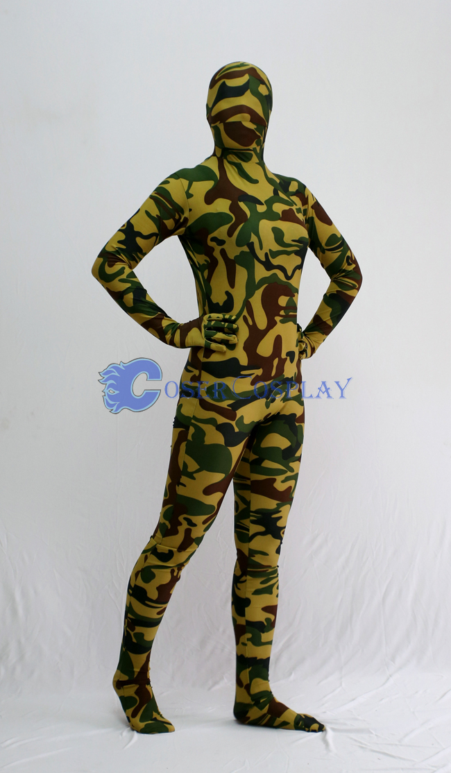 Yellow Dark Green Camouflage Zentai Suit