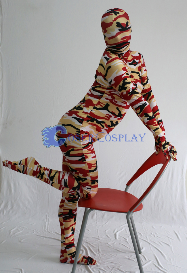 Yellow Red Black Camouflage Zentai Suits