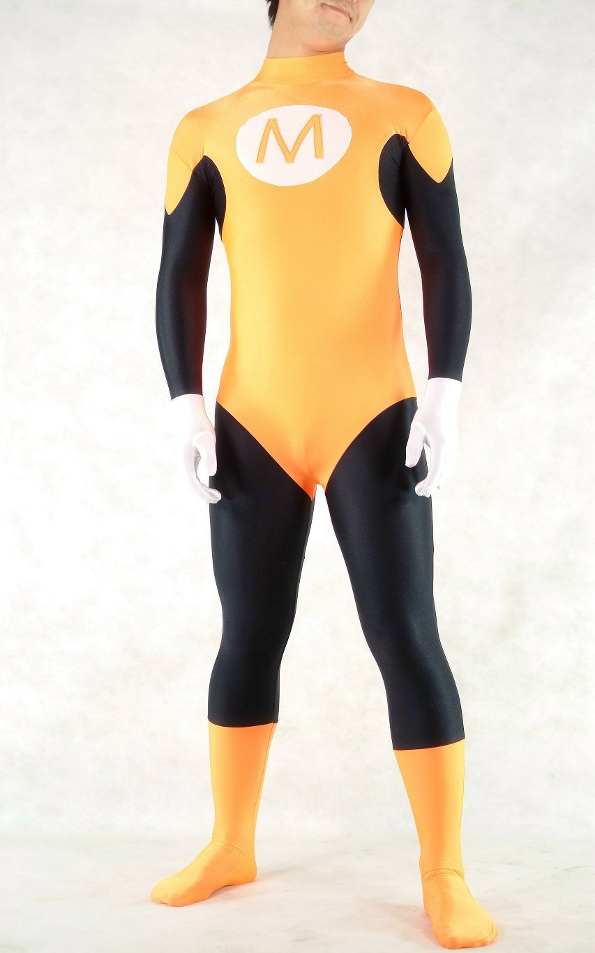 Yellow Superhero Halloween Costume Catsuit