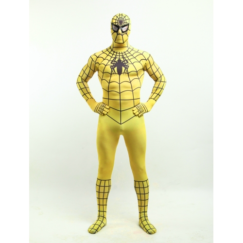 Yellow Zentai Adult Spiderman Halloween Costume