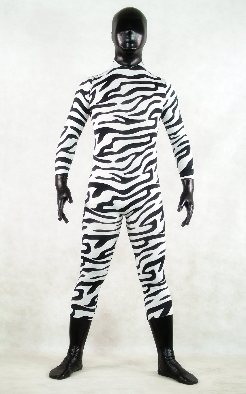 Zebra Print Black Head Halloween Costume Zentai