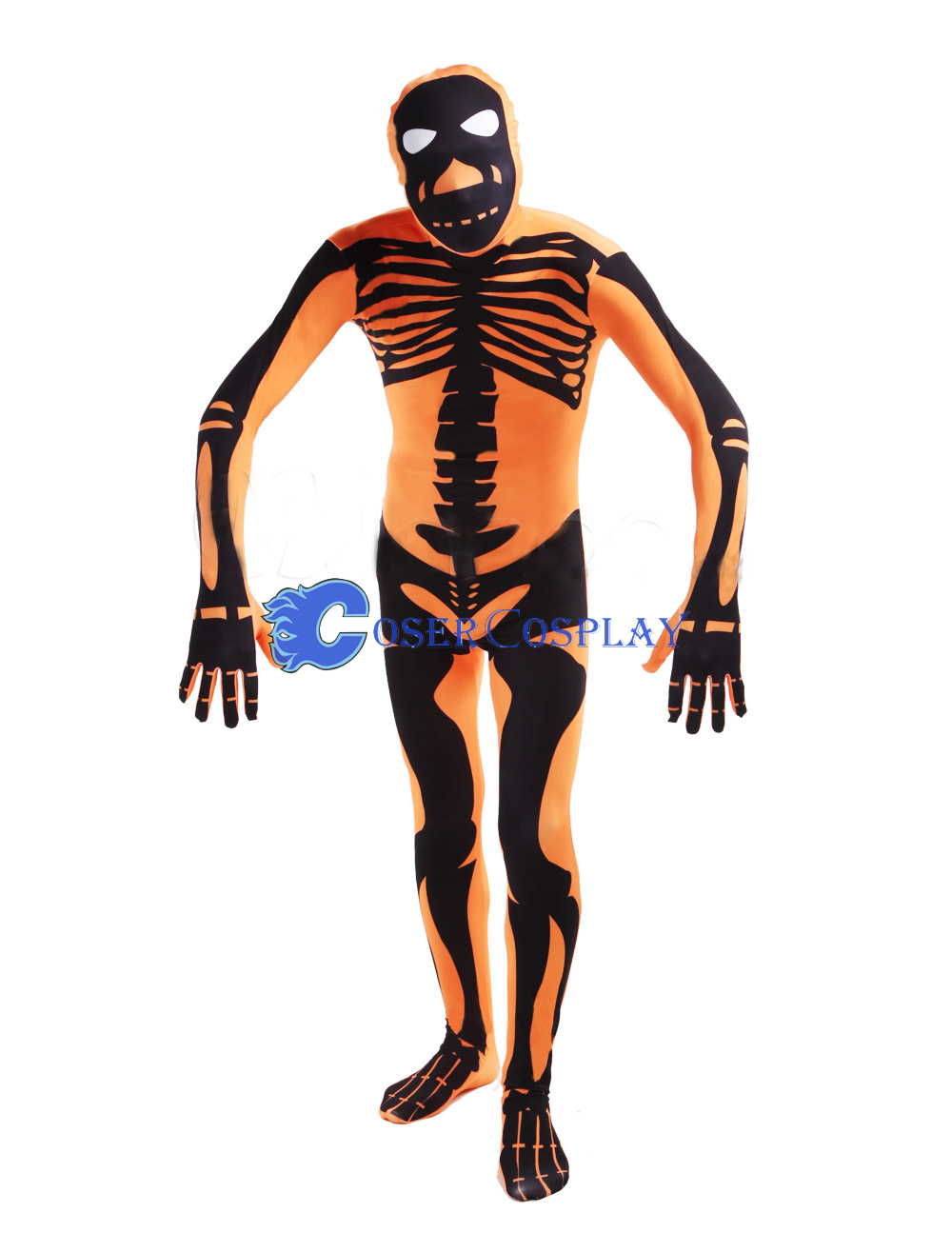Adult Halloween Costumes Zentai Skeleton Orange